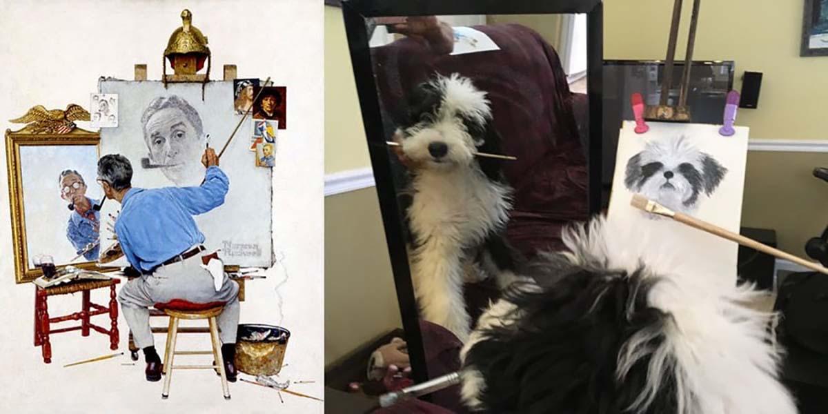 Вот, например, «Тройной автопортрет» Нормана Роквелла в интерпретации собаки.