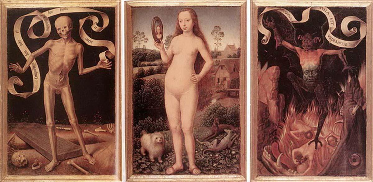 Ганс Мемлинг, «Ад», 1485 год  Женщина и мужчина, дракон и собака, летучая мышь и сам дьявол — все это объединил в себе один персонаж картины, танцующий на телах тех, кто был проклят в вечном огне ада. Картина Мемлинга собрала в себе весь страх и ужас преисподней. Грешники жарятся в челюстях гигантской рыбы, а демон держит в руках змея. Все происходящее полностью отрицает возможность существования надежды: «В аду искупления нет». Вся сцена — часть триптиха земной суеты и Божественного спасения, который был создан для того, чтобы пугать прихожан XV века, призывая их к лучшему поведению.
