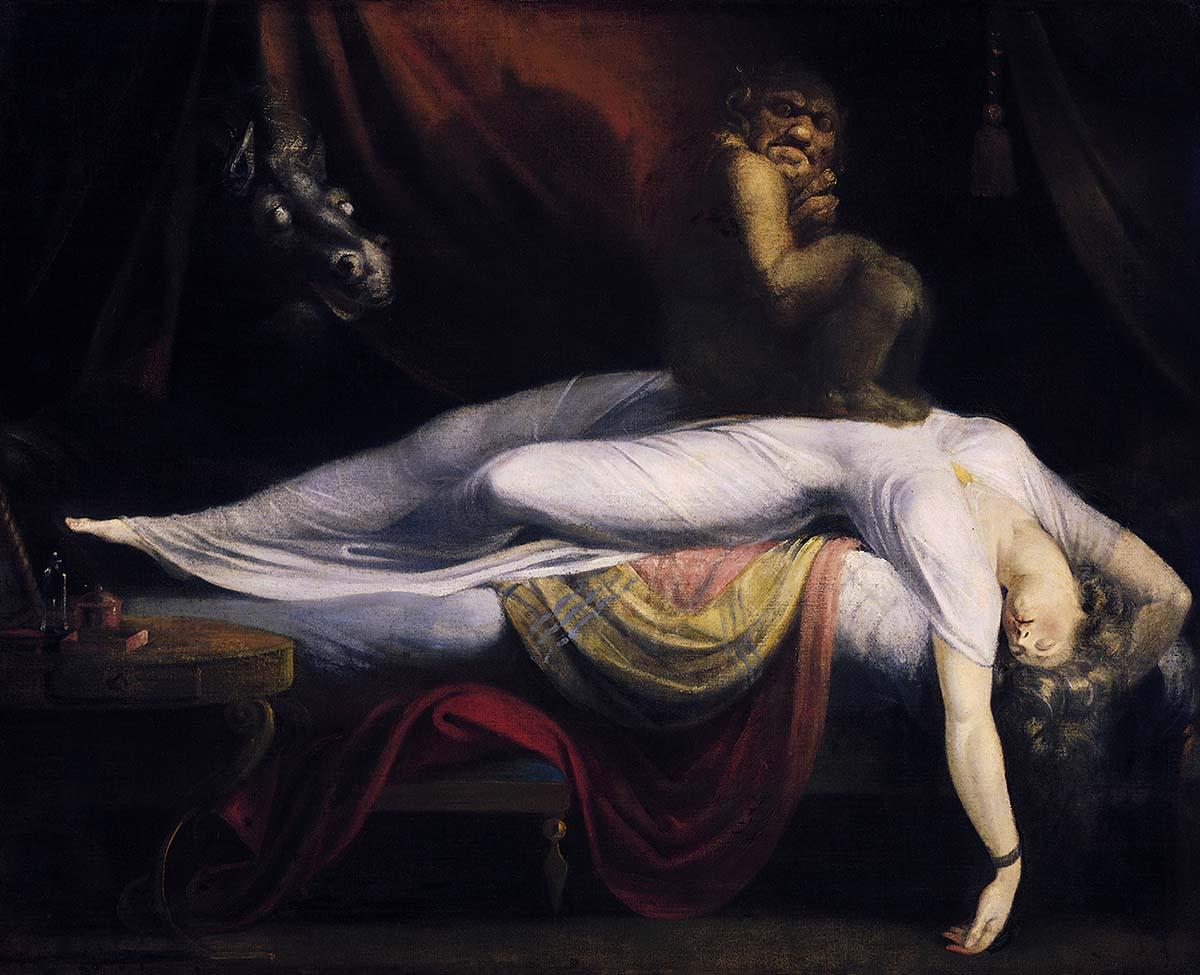 Генри Фюзели, «Кошмар», 1781 год  Это худшая мечта искусствоведа и, безусловно, самый известный образец психологии, превосходящий Зигмунда Фрейда. Действительно, у художника отлично получилось изобразить проявление бессознательного. Более того, картина висела на стене в венской квартире Зигмунда Фрейда. Мы видим спящую в своей постели девушку. Почти сразу мы понимаем, она — жертва. Ее голова и руки свисают с кровати, рот приоткрыт. На ее животе сидит тролль. Его уши отбрасывают тень в виде дьявольских рогов на занавески позади персонажей. Сквозь то же бордовое полотно выглядывает голова жеребца с дикими стеклянными глазами.