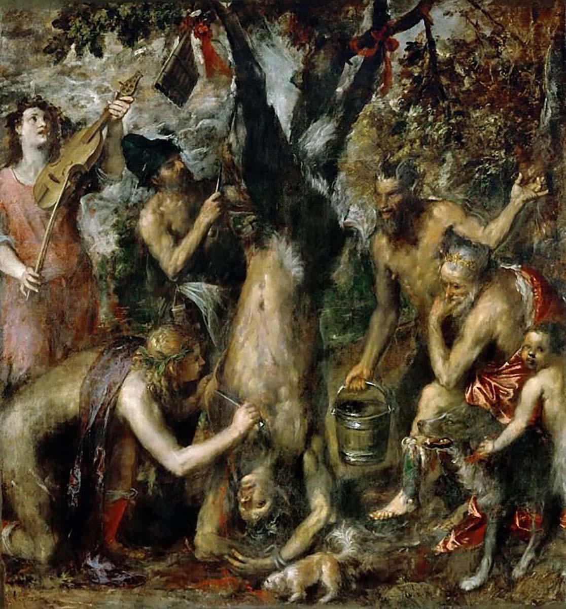 Тициан, «Наказание Марсия», 1575 год  Тициан продолжил традицию изображения мифов и легенд. Основа сюжета картины: миф об Аполлоне и Марсии. Они вступили в долгий спор, так как не могли решить, что лучше — флейта или кифара, чье мастерство выше — бога или сатира. Марсия проиграл, а за его надменность с него стали сдирать кожу. Палачом выступил сам Аполлон, он изображён на корточках с ножом в руке. Взгляд зрителя привлекает персонаж, сидящий справа от главного. Он напоминает самого Тициана, наблюдающего за сценой. Собаки изображены на полотне не случайно: в большинстве культур собака — друг человека и защитник. Однако на картине одна собака бессердечная и гордая, а вторая жадно пьет кровь мученика. Для Тициана картина стала его собственным посланием о гордости и высокомерии.