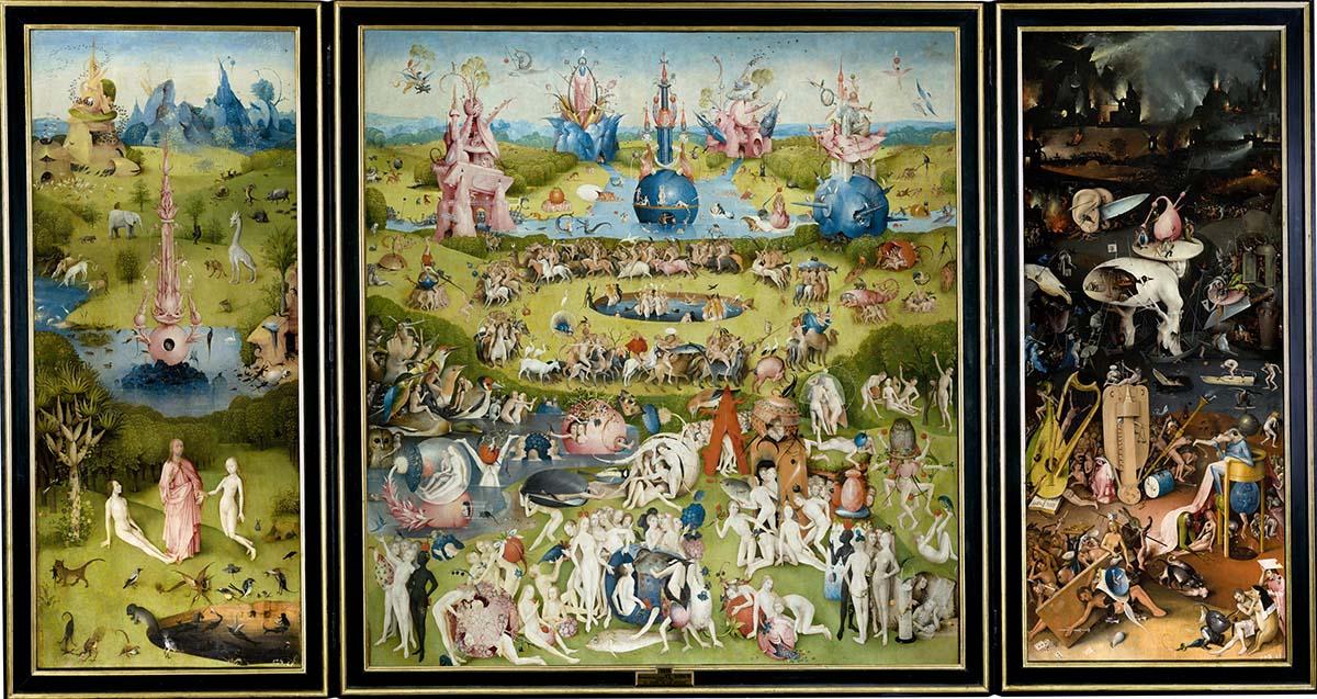 Иероним Босх, «Сад земных наслаждений», 1500-1510  Самый знаменитый триптих Босха по сей день таит в себе множество тайн для всех искусствоведов и исследователей. Ни одно из существующих на сегодняшний день объяснений его работы так и не было признано законченным. Полотно отображает все мастерство художника и его фантазию, не знающую границ. Босх посвятил его греху сладострастия, а все три части работы изображают главный замысел художника в самых мелких деталях. На створках триптиха мы видим безмятежную картину всего мироздания, но погружаясь глубже в понимание работы, попадаем в атмосферу хаоса и страха.