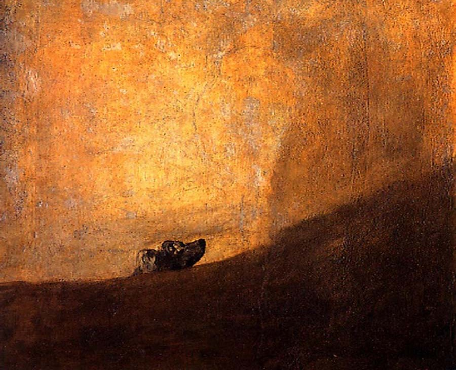 Франсиско Гойя, «Собака», 1823 год   «Собака» — одна из так называемых «черных картин» Гойи — была написана в те годы, когда художник страдал от болезни, из-за которой он впоследствии оглох. Это самое суровое, быстрое и вневременное из кошмарных видений. На картине изображена голова собаки, которая борется с огромным пространством. Не совсем понятно, где именно находится собака: то ли она выныривает из мутной воды, то ли тонет в песках, то ли появляется из-за склона. Взгляд собаки наполнен беспомощностью и беззвучным криком о помощи.